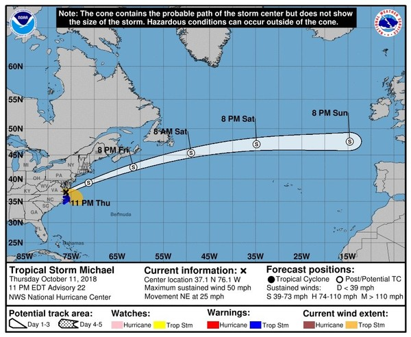 Tropical Storm Michael was expected to move off the East Coast soon and strengthen again, but this time it will be a post-tropical storm. (National Hurricane Center)