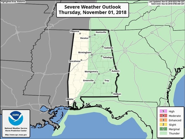 The Storm Prediction Center has removed the severe weather risk for Alabama as of late Thursday afternoon. No more severe weather is expected. (SPC)