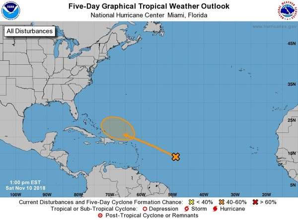 A tropical wave in the Atlantic as of Saturday afternoon has a 40 percent chance of becoming a subtropical or tropical depression in the next five days. (National Hurricane Center)