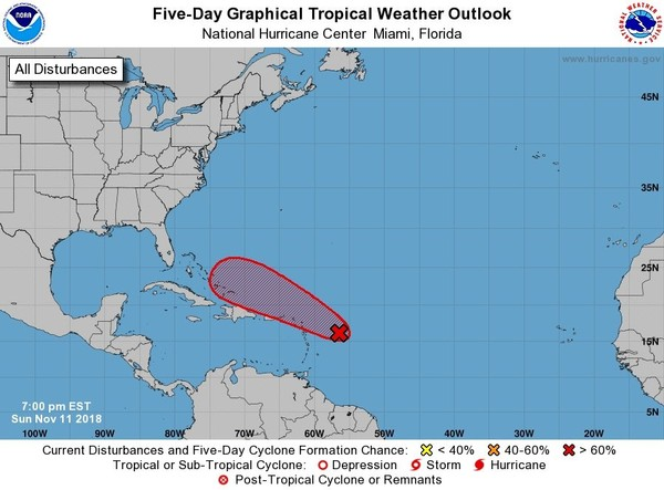 A tropical wave could get better organized later this week and has a 70 percent chance of becoming a tropical or subtropical depression. (National Hurricane Center)
