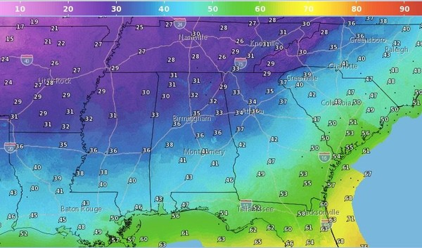 Low temperatures are expected to fall below freezing in parts of north and central Alabama overnight. Another shot of cold air is expected next week -- and that one could bring the chance of seeing a few snowflakes. Maybe. (National Weather Service)