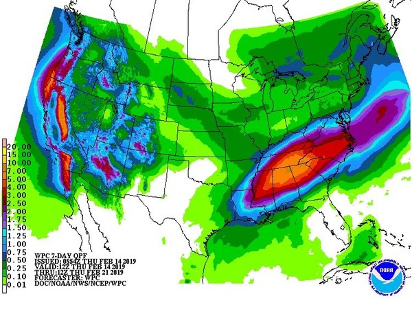 The next seven days look decidedly soggy for Alabama. This is the seven-day precipitation potential for Alabama, showing parts of the state could get 5 inches of rain -- or more -- through next week. (Weather Prediction Center)