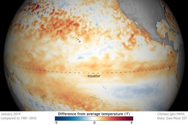 All the boxes have been checked and El Nino is official this month. This image shows the warmer-than-average water temperatures (in January) in the tropical Pacific, which is one sign of El Nino. (Climate.gov image)