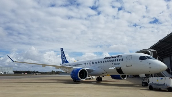 A Bombardier C Series jet -- since renamed the Airbus A220 series -- is displayed at the Mobile Aeroplex at Brookley earlier this year. Airbus has said it plans to build the jets in Mobile. (Lawrence Specker/LSpecker@AL.com)