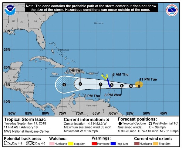 The official forecast track shows Tropical Storm Isaac continuing on a westward path and into the Caribbean by Thursday. (National Hurricane Center)