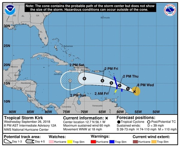 Kirk has 50 mph winds as of Wednesday night and is forecast to move through the Lesser Antilles on Thursday. (National Hurricane Center)