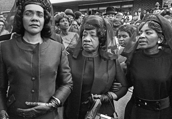 Martin Luther King's widow Coretta Scott King; his mother, Alberta King; and his sister, Christine Farris, at Morehouse College in Atlanta on April 9, 1968. (Bob Fitch Photography Archive, Department of Special Collections, Stanford University Libraries)