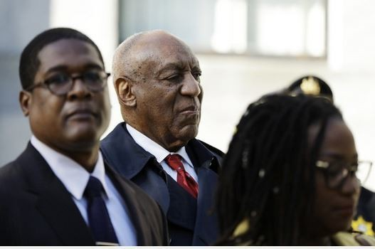 Comedian Bill Cosby, shown with spokesperson Andrew Wyatt, shown in April during Cosby's trial for sexual assault. On Tuesday, Cosby was sentenced to up to three years in prison in connection to the conviction. (AP Photo/Matt Slocum)(Matt Slocum)