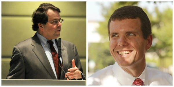 Former Alabama state Sen. Roger Bedford (l.) is backing Tuscaloosa Mayor Walt Maddox (r.) in the Democratic primary for governor.