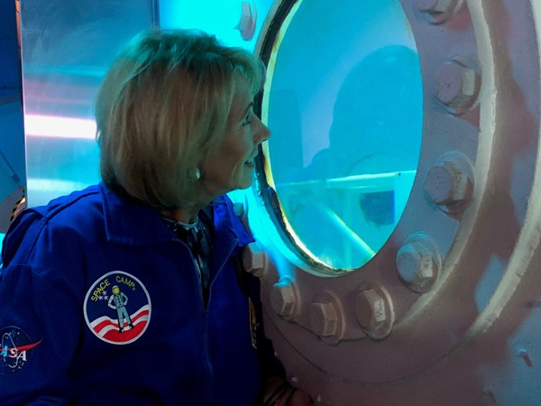 U.S. Education Secretary Betsy DeVos during a visit to Huntsville's Space and Rocket Center on Oct. 3, 2018, during the first day of her 'Rethink School' tour.