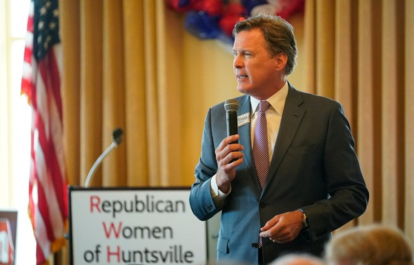 Alabama gubernatorial candidate Bill Hightower speaks at the Republican Women of Huntsville meeting Tuesday April 3, 2018. Hightower is facing criticism from Dean Young, a former campaign strategist for Roy Moore, over his response to an Alabama Constitution amendment for public displays of the Ten Commandments. (Bob Gathany /bgathany@AL.com)