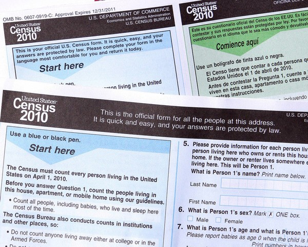 In this March 15, 2010, file photo, copies of the 2010 Census forms. The 2020 U.S. Census will add a question about citizenship status, a move that has drawn swift condemnation from Democrats and civil rights organizations who are encouraging people to make public comments opposing its inclusion by Aug. 7. Conservative groups, like The Heritage Foundation, also want the public to comment but in support of adding the citizenship question. (AP Photo/Ross D. Franklin, File)