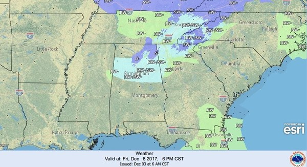 Could Alabama see a few snowflakes late this week? It's not certain but it is certainly possible, according to the National Weather Service. Parts of north and even central Alabama could see a few snow showers to even a light dusting, especially on Friday. (National Weather Service)