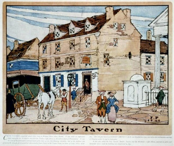 Philadelphia's City Tavern served as a popular gathering place for the Founders during the Constitutional Convention of 1787. MUST CREDIT: Library of Congress photo.