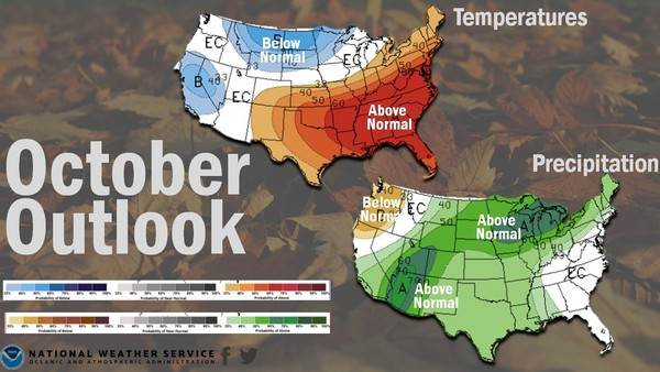 It was a hot September, and October won't bring a whole lot of relief, according to forecasters. (NOAA)