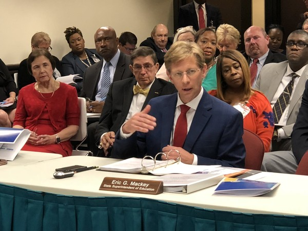 Alabama Superintendent Eric Mackey discussing school safety with the state Board of Education on June 14, 2018, in Montgomery, Ala.