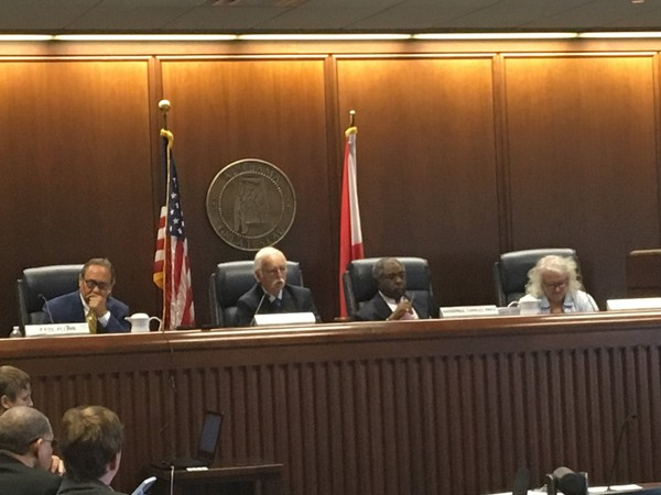 The Alabama Ethics Commission, from left, John Plunk, Jerry Fielding, Charles Price and Beverlye Brady, are shown at their June 6, 2018 meeting.