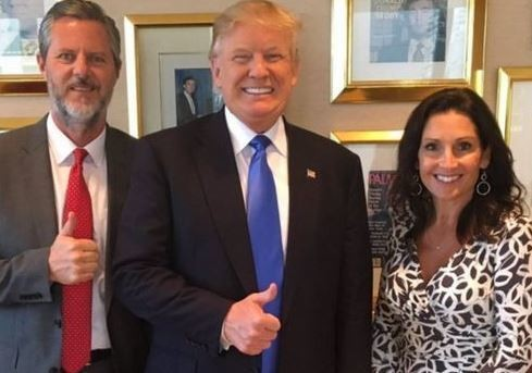 Jerry Falwell Jr. and his wife, Becki, with then-GOP presidential nominee Donald Trump.