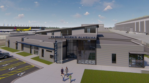 This rendering of the Flight Works Alabama facility to be built in Mobile was provided by Mott MacDonald, the company working as project architect.