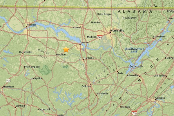 The location of a 2.2-magnitude earthquake detected at 4:07 a.m. on Saturday, Nov. 25, 2017.