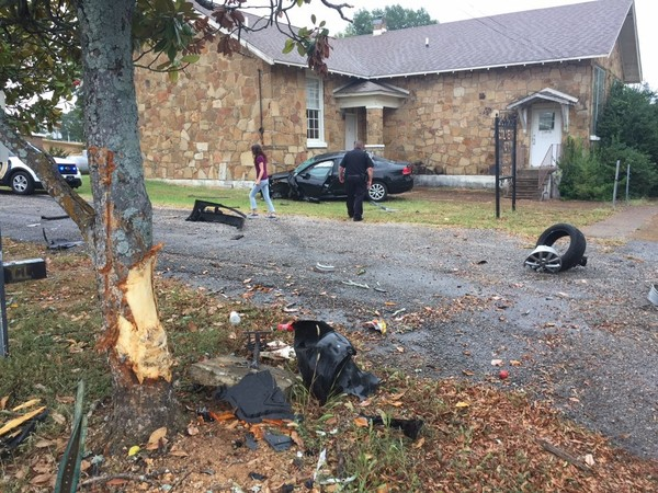 A wanted man, who crashed a vehicle near a former school building during a Shoals police chase this morning, has been captured following a search by multiple agencies. (Photo: AL.com news partner WHNT News-19)