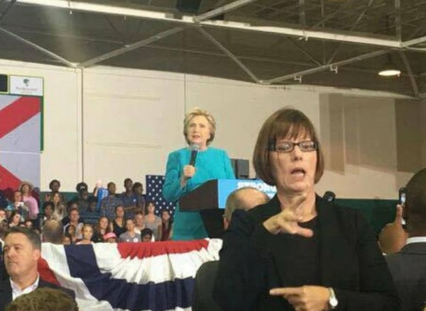 Deborah Gibson, who said Senate candidate Roy Moore asked her on a date while she was in high school and he was in his 30s, shown working at a Hillary Clinton rally. (Contributed photo/Facebook)