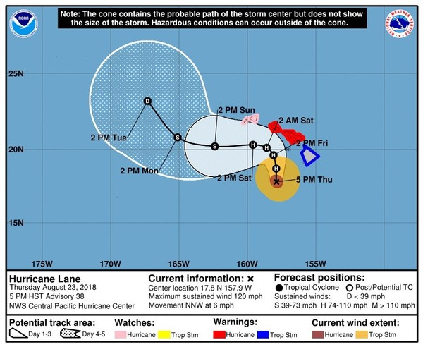 Hurricane Lane Path Update Now Category 3 Storm Al Com