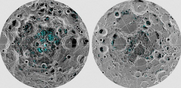 The image shows the distribution of surface ice at the Moon's south pole (left) and north pole (right), detected by NASA's Moon Mineralogy Mapper instrument. Blue represents the ice locations, plotted over an image of the lunar surface, where the gray scale corresponds to surface temperature (darker representing colder areas and lighter shades indicating warmer zones).. This is the first time scientists have directly observed definitive evidence of water ice on the Moon's surface. (Contributed photo/NASA)