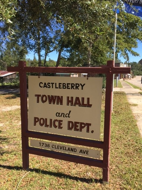 The Castleberry Police department sign, shared by the Town Hall.