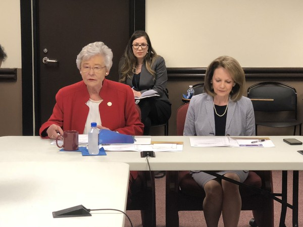 Alabama Gov. Kay Ivey and Alabama Board of Education Vice President Stephanie Bell, R-Montgomery, during the special called meeting on April 13, 2018, in Montgomery, Ala.