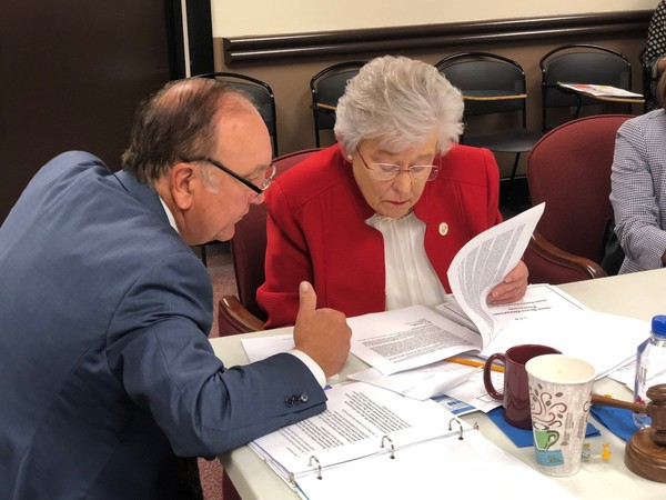 Superintendent search firm President Gary Ray and Alabama Gov. Kay Ivey during the April 13, 2018, Board of Education called meeting in Montgomery, Ala.