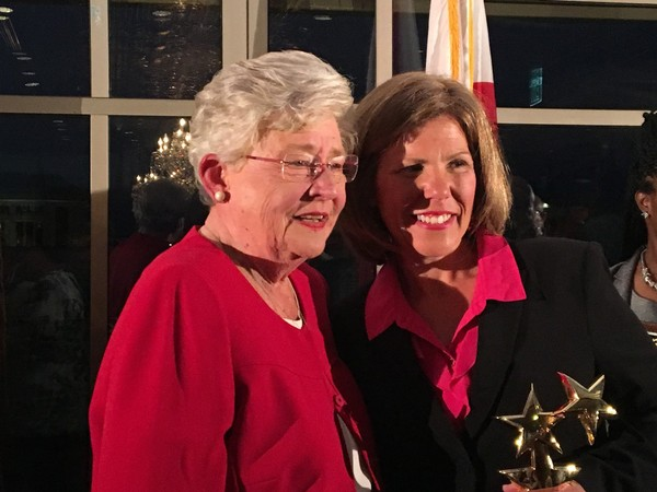 Governor Kay Ivey and 2017 Alabama Teacher of the Year Chasity Collier of Mobile at the awards ceremony on May 10, 2017, in Montgomery, Ala.