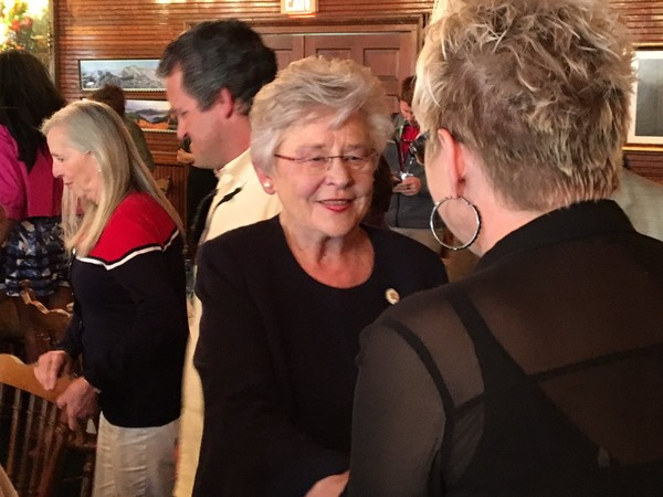 Alabama Gov. Kay Ivey shakes hands with attendees at a Baldwin County Young Republicans luncheon on Tuesday, April 17, 2018, in Foley, Ala. (John Sharp/jsharp@al.com)