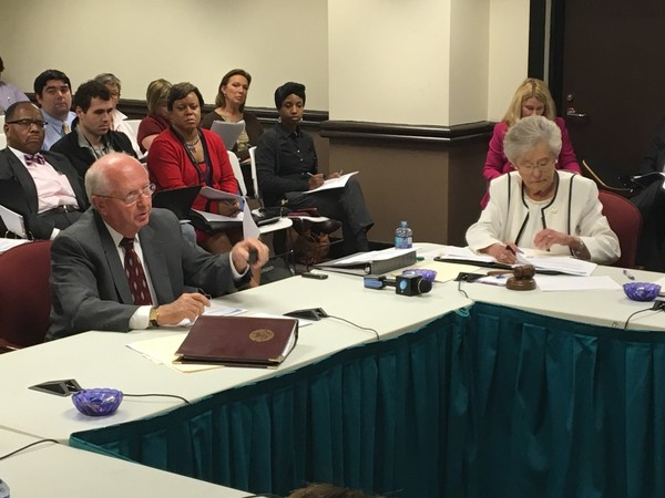 Alabama interim state superintendent Dr. Ed Richardson and Gov. Kay Ivey discuss the selection process for the next superintendent at the Nov. 9, 2017, work session in Montgomery.