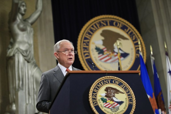 "Attorney General Jeff Sessions speaks during a Religious Liberty Summit at the Department of Justice, Monday, July 30, 2018. Sessions says there's a ""dangerous movement"" to erode protections for Americans to worship and believe as they choose. (AP Photo/Manuel Balce Ceneta)"