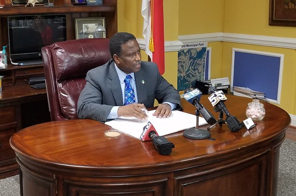 Prichard Mayor Jimmy Gardner speaks about the RESTORE Act grant process on March 12, 2018. Gardner said he thinks his city was unfairly shut out of a round of funding announced the previous week. (Lawrence Specker/LSpecker@AL.com)