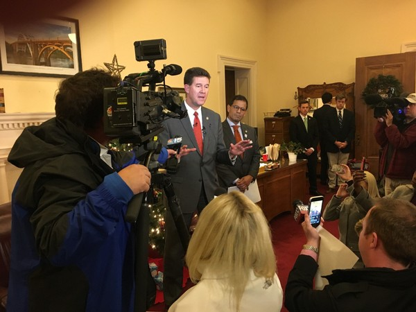 John Merrill speaks to reporters in his office at the State Capitol about what happens next in the U.S. Senate race, which Doug Jones won narrowly over Roy Moore.