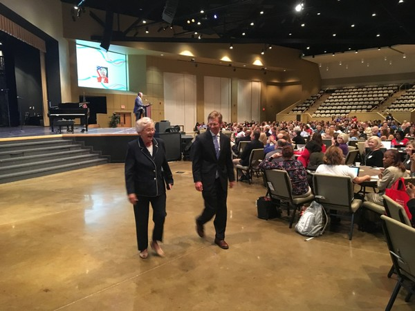 Gov. Kay Ivey with state Superintendent Eric Mackey at a conference on science, technology, engineering and math education at Frazer United Methodist Church in Montgomery.
