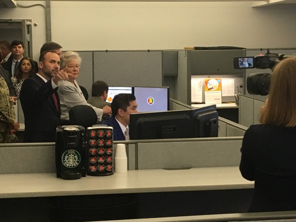 Chief Information Security Officer Ryan Allen shows Gov. Kay Ivey around the state's new Security Operations Center at the Folsom Administrative Building in Montgomery.