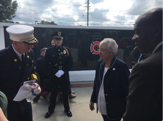 Gov. Kay Ivey arrives at the Alabama Firefighter Memorial dedication ceremony on Sept. 11, 2018.