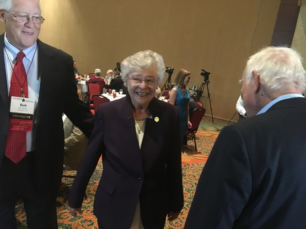 Alabama Gov. Kay Ivey arrives to speak to retired Alabama state employees at a conference Wednesday in Montgomery.