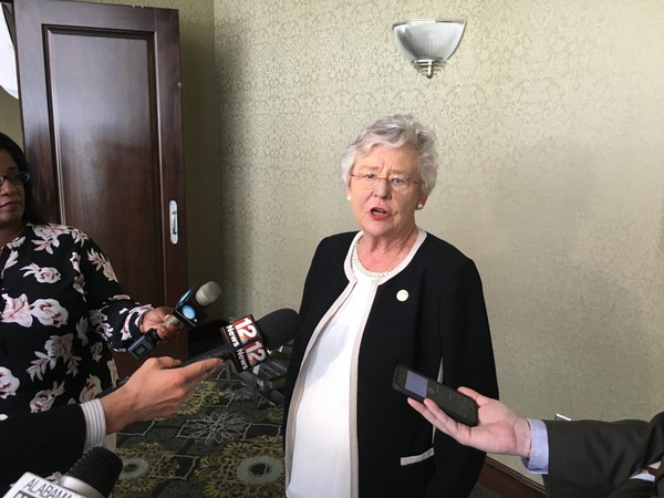 Alabama Gov. Kay Ivey speaks to reporters about state prisons and other issues on Nov. 7, 2017.