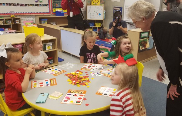 """Gov. Kay Ivey speaks to students in the """"First Gator"""" Pre-K class at Robert E. Lee Elementary School in Satsuma, Ala., on Tuesday, Dec. 5, 2017. (Lawrence Specker/LSpecker@AL.com)"""