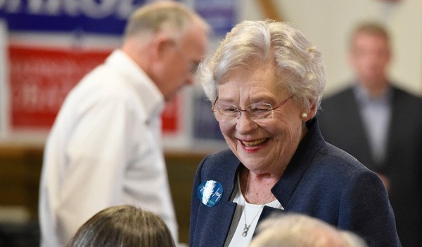 Alabama Gov. Kay Ivey speaks with attendees at the Madison County Republican Men's Club breakfast on May 19, 2018. (Bob Gathany/bgathany@AL.com)