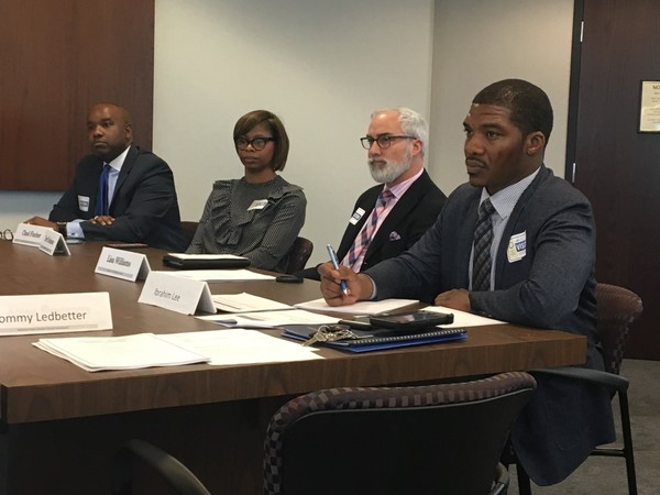 Legacy Prep charter school Board Chairman Brian Hamilton, Executive Director Jonta Morris, board member Steve Siple, and Alabama Public Charter School Commission member Ibrahim Lee at the Feb. 12, 2018, Commission meeting in Montgomery, Ala.
