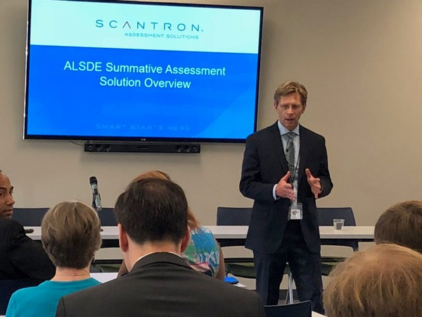 Alabama Superintendent Eric Mackey speaks to State Assessment Task Force members before presentations from testing providers on June 27, 2018, in Montgomery, Ala.