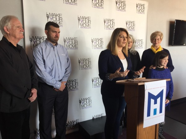 Former Miss America Mallory Hagan announces her campaign for Alabama's 3rd Congressional District seat at her mother's dance studio in Opelika.