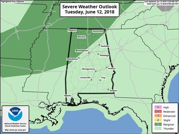 Isolated severe storms will be possible this afternoon in parts of north and north-central Alabama (areas in dark green). Those storms could bring heavy rain and gusty winds. Storms will be possible across the rest of the state as well today. (Storm Prediction Center)