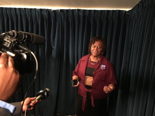 Rep. Pebblin Warren, D-Tuskegee, speaks with reporters after the Alabama House passed her bill adding new regulations for church-affiliated child care centers.