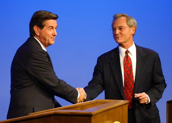 Republican gubernatorial candidate, U.S. Rep. Bob Riley, R-Ala., left, shakes hands with Alabama Gov. Don Siegelman at the end of their debate at the Alabama Public Television studio in Montgomery, Ala., Sunday, Oct. 20, 2002. (AP Photo/Charles Nesbitt, POOL)